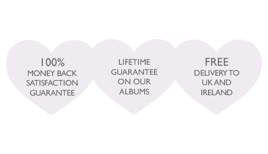Lifetime Guarantee and FREE Delivery to UK & Ireland on all our Wedding Albums